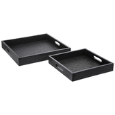 Black Square Woven Wood Tray Set