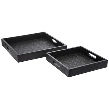 Black Square Woven Wood Tray Set