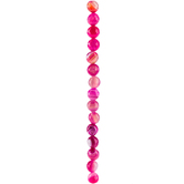 Hot Pink Dyed Round Faceted Agate Bead Strand