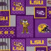 LSU Block Collegiate Fleece Fabric