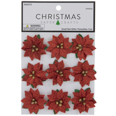 Red Glitter Poinsettia Embellishments