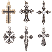 Textured Cross Charms With Rhinestones