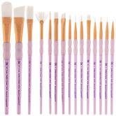 White Taklon Paint Brushes - 15 Piece Set