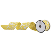Yellow Daisy Wired Edge Burlap Ribbon - 2 1/2""