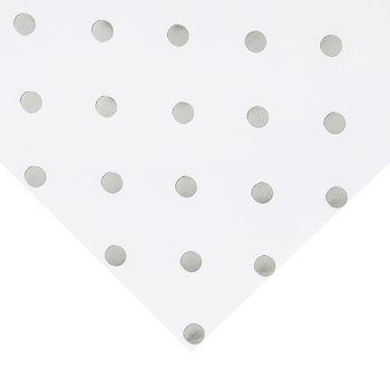 """White & Silver Foil Polka Dot Scrapbook Paper - 12"""" x 12"""""""