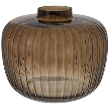 Toasted Coconut Ridged Tapered Glass Vase