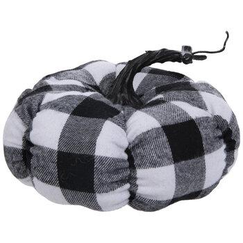 Black & White Buffalo Check Plush Pumpkin - Small