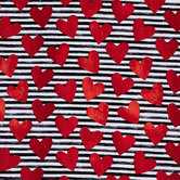 Hearts On Stripes Apparel Fabric