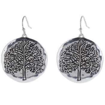 Tree Round Earrings