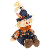 Scarecrow Sitter With Overalls