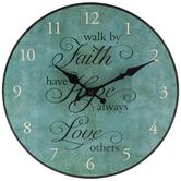 Faith, Hope & Love Wood Wall Clock