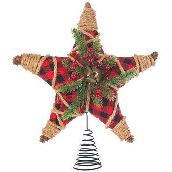Red Buffalo Check & Jute Star Tree Topper