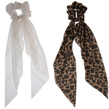 White & Leopard Ribbon Scrunchies
