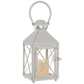 White Distressed Metal Lantern Candle Holder