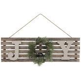 Joy Wreath Wood Wall Decor