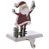Santa With Gift Metal Stocking Holder