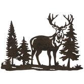 Brown Deer In Trees Metal Wall Decor