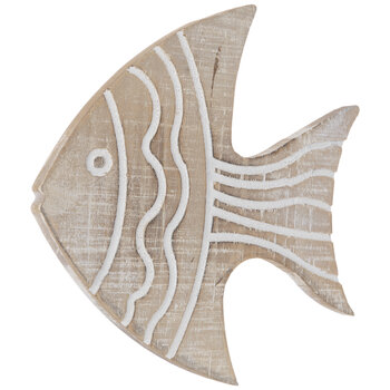 Whitewash Striped Fish Wood Wall Decor