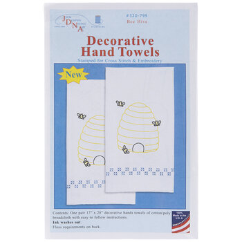 Bee Hive Embroidery Hand Towels Kit
