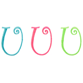 Curly Brites Embroidered Letter Iron-On Appliques U - 1 3/4""