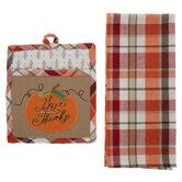 Give Thanks Plaid Kitchen Towel & Pot Holder