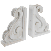 White Scroll Corbel Wood Bookends