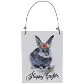 Happy Easter Bunny Wood Ornament