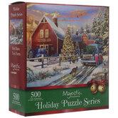 Red Barn Christmas Tree Farm Puzzle