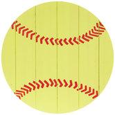 Softball Round Wood Wall Decor