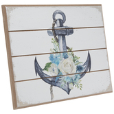Anchor With Flowers Wood Decor
