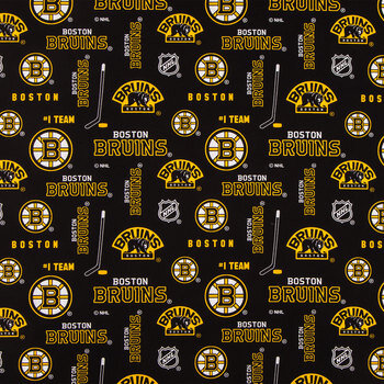 NHL Boston Bruins Allover Cotton Fabric