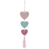Pink & Blue Glitter Heart Wood Wall Decor