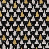 Metallic Christmas Trees Cotton Fabric