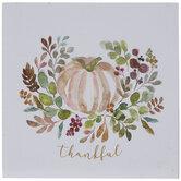 Thankful Watercolor Pumpkin Wood Decor