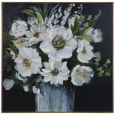 White Flowers In Vase Canvas Wall Decor