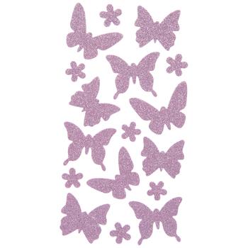 Pink Butterfly Glitter Stickers
