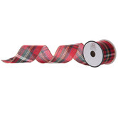 Plaid Wired Edge Ribbon With Gold Edge - 2 1/2""