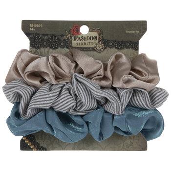 Tan, Teal & Striped Scrunchies