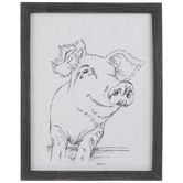 Pig Sketched Wood Wall Decor