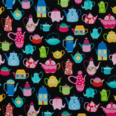 Novelty Tea Pots Cotton Calico Fabric
