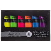 Neon Acrylic Paint - 6 Piece Set