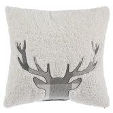 Gray Buffalo Check Deer Sherpa Pillow
