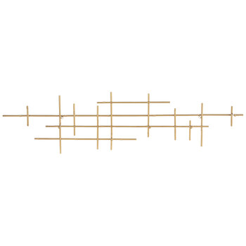 Gold Abstract Metal Wall Decor With Hooks