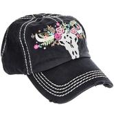 Floral Longhorn Skull Baseball Cap