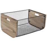 Black Curved Mesh Metal Container - Large