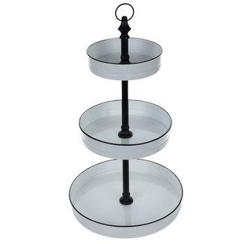 White & Black Three-Tiered Metal Stand