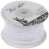 """White Lace With Pearls Wired Edge Ribbon - 1 1/2"""""""