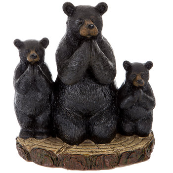 Black Bear Trio On Tree Slice