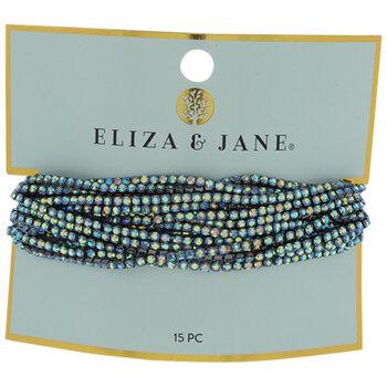 Iridescent Blue Rhinestone Bracelets