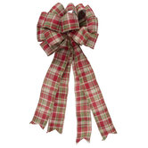 Red, Green & Natural Plaid Bow
